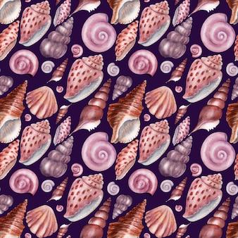 Aquarela sem costura padrão conchas. conchas cor de rosa