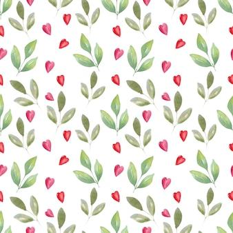 Aquarela sem costura padrão de ar rosas e corações. fundo festivo