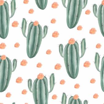 Aquarela sem costura padrão de cacto com flor rosa e plantas suculentas