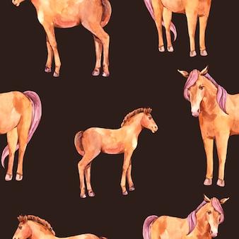 Aquarela sem costura padrão de cavalos vermelhos