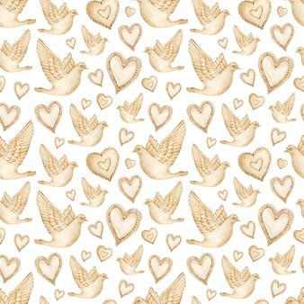 Aquarela sem costura padrão de corações e pombas marrons.