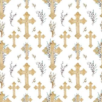 Aquarela sem costura padrão de cruzes cristãs de madeira
