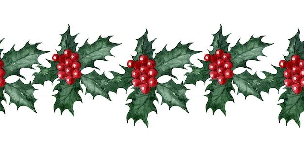 Aquarela sem costura padrão de flor de natal holly