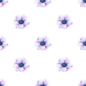 Aquarela sem costura padrão de flores de verão e folhas sobre um fundo claro