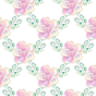 Aquarela sem costura padrão de flores e folhas de verão