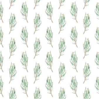 Aquarela sem costura padrão de folhas verdes protea.