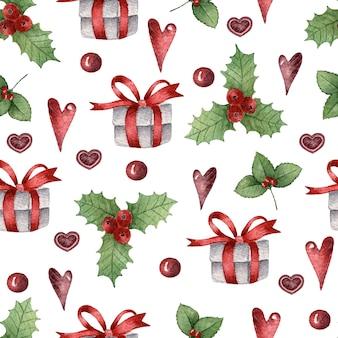 Aquarela sem costura padrão de natal com plantas e corações de presentes de natal decorados