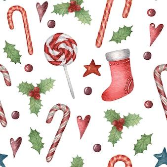 Aquarela sem costura padrão de natal com uma bota de doces de natal decorada com plantas coração e estrelas