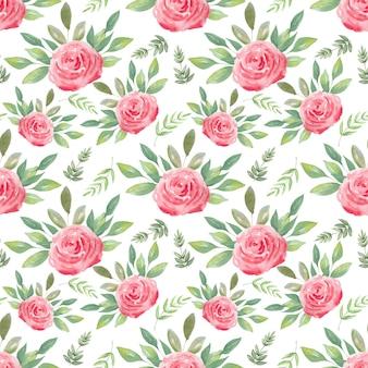 Aquarela sem costura padrão de rosas do ar. fundo festivo