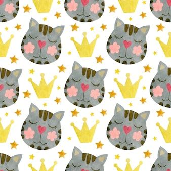 Aquarela sem costura padrão de rostos de gatos em uma coroa fundo aquarela de gatos