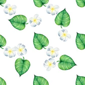 Aquarela sem costura padrão de verão flores e folhas