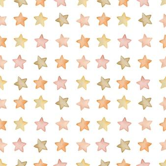 Aquarela sem costura padrão estrelas no estilo boho em um fundo branco