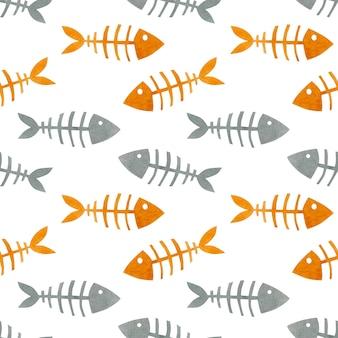 Aquarela sem costura padrão peixes esqueletos fundo aquarela