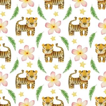 Aquarela sem costura padrão tigres folhas tropicais e flores em um fundo branco