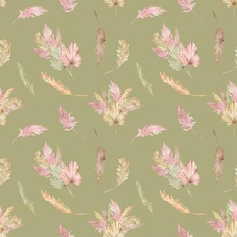 Aquarela sem costura padrão tropical com folhas de palmeira exóticas e capim-dos-pampas. ilustração de verão.
