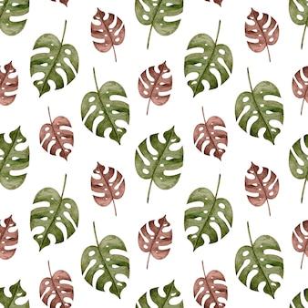 Aquarela sem costura padrão tropical com folhas de palmeira monstera marrom e verde. fundo exótico.