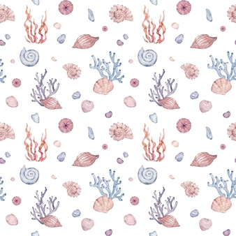 Aquarela subaquática padrão sem emenda. natureza do oceano com conchas, algas e seixos. ilustração desenhados à mão.