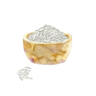 Aquarela tigela de arroz branco.