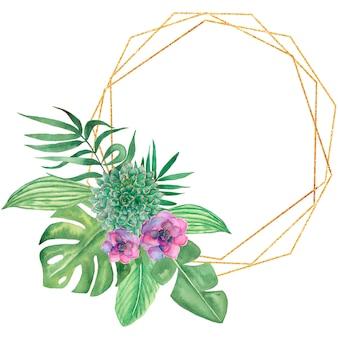Aquarela tropical folhas e ilustração de quadro de flores