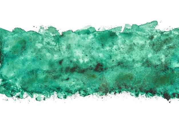 Aquarela verde abstrata que espirra fundos, pintura da mão no papel.