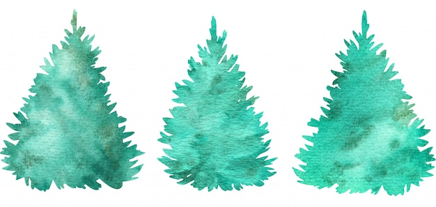 Aquarela verde árvores de natal. árvores de férias de coníferas. ilustração desenhados à mão.