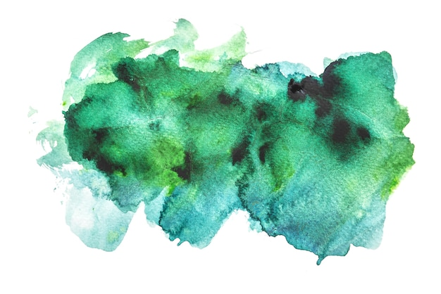 Aquarela verde isolada no fundo branco, pintura à mão