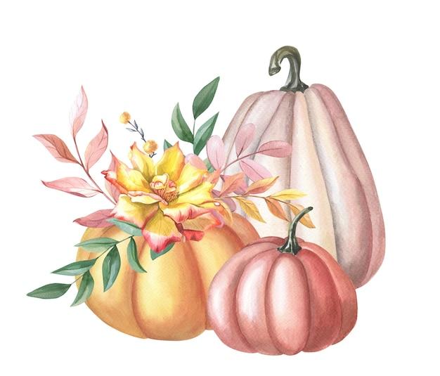 Aquarela vermelha, abóbora laranja, rosa amarela, folhas, baga vermelha em fundo branco.