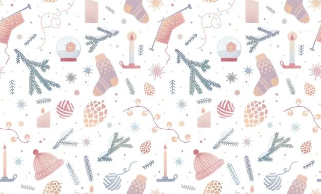 Aquarela vintage padrão sem costura com natal meia abeto ramo guirlanda velas flocos de neve