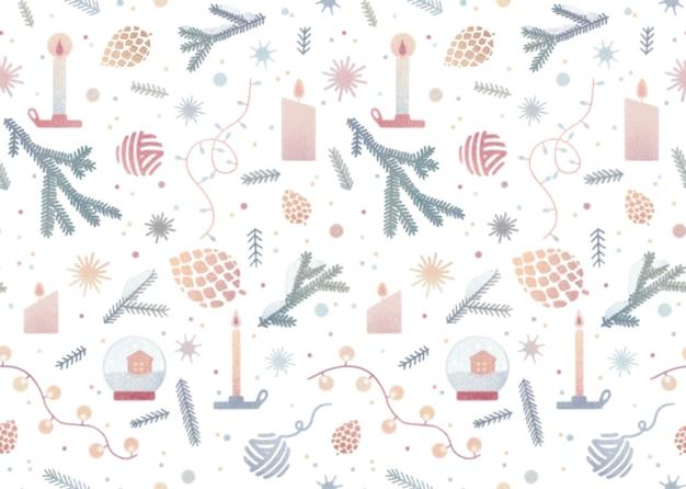 Aquarela vintage padrão sem emenda com ilustração aconchegante de natal isolada no fundo branco