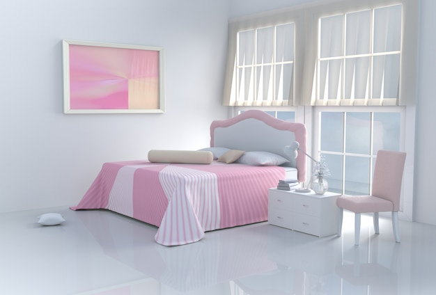 Aqueça o quarto cor-de-rosa da cama no dia feliz. 3d rendem.