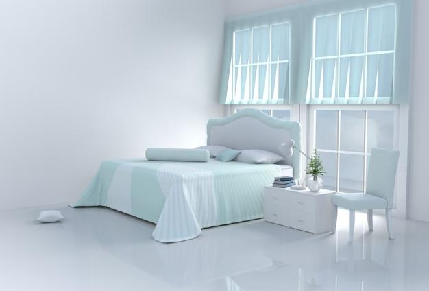 Aqueça o quarto verde da cama no dia feliz. 3d rendem.