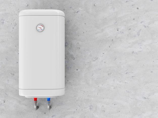 Aquecedor elétrico moderno de água na parede de concreto