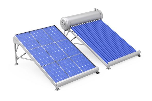 Aquecedor solar de água com painel solar em um fundo branco. renderização 3d.