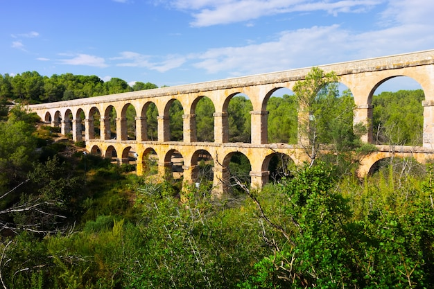 Aqueduto romano antigo na floresta. tarragona