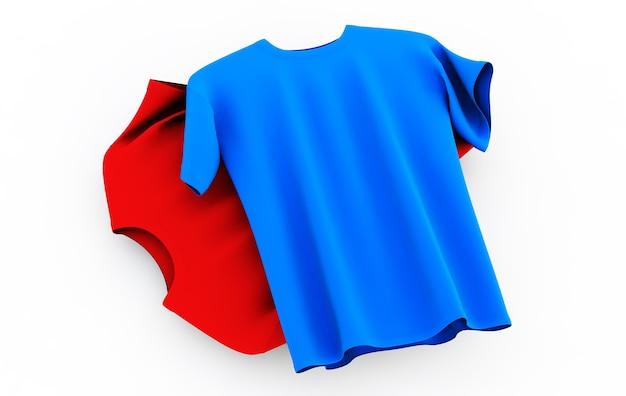Aquisição de camisetas em um fundo neutro na frente e atrás ilustração 3d renderização 3d