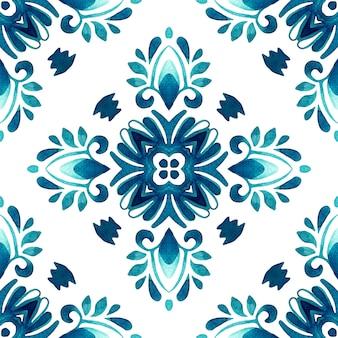 Arabesque mão desenhada telha padrão de pintura aquarela ornamental sem emenda.