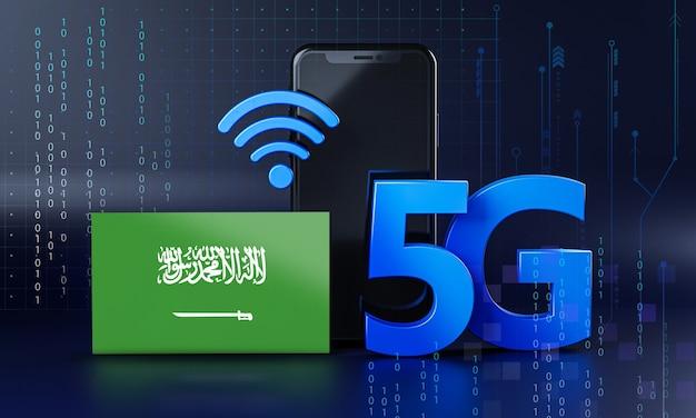 Arábia saudita pronta para o conceito de conexão 5g. fundo de tecnologia de smartphone de renderização 3d