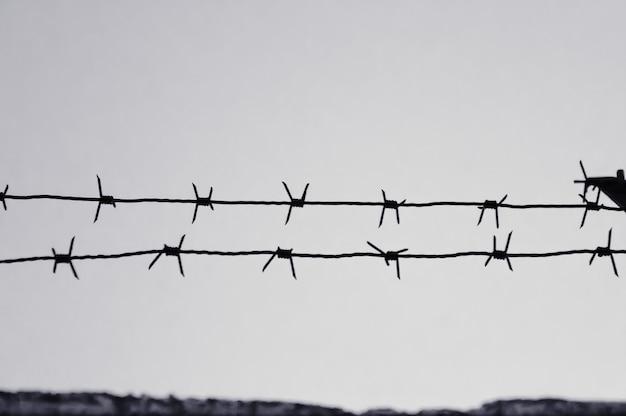 Arame farpado perigoso para demarcar o efeito preto e branco do campo de prisioneiros