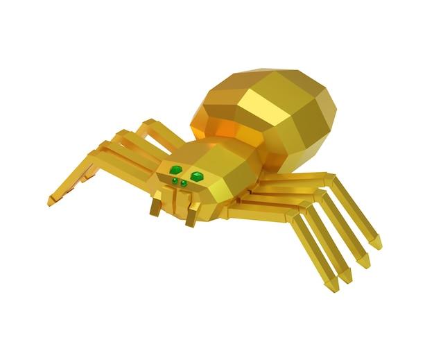 Aranha decorativa dourada isolada em branco, renderização 3d