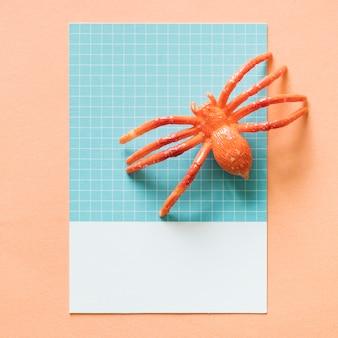 Aranha miniatura colorida em um papel