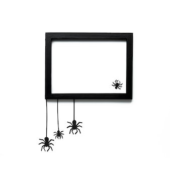 Aranhas de halloween com moldura de maquete