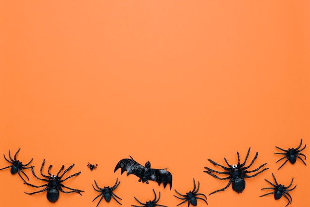 Aranhas negras do halloween