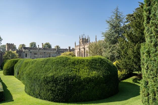 Arbustos aparados em um jardim do castelo