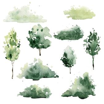 Arbustos e árvores em aquarela