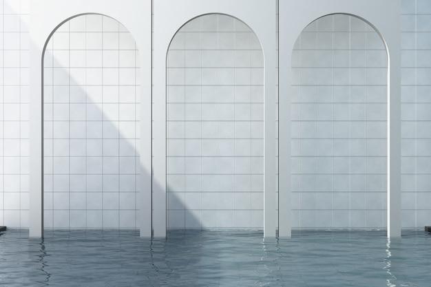 Arco branco com fundo de azulejo branco e renderização em 3d piscina