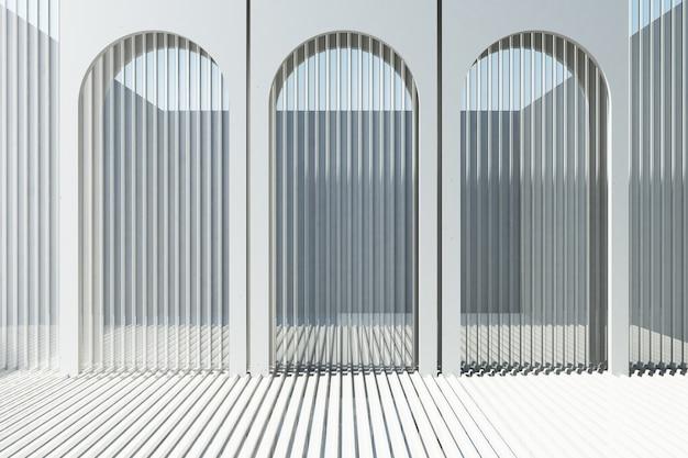 Arco branco com fundo de chapa de metal branco e renderização em 3d piso