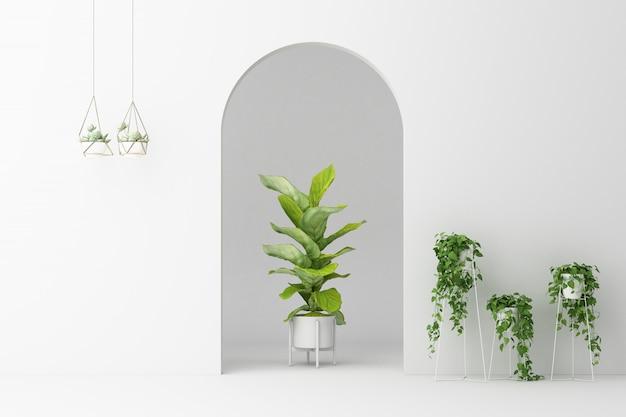 Arco branco minimalista com muitas plantas decorar renderização em 3d