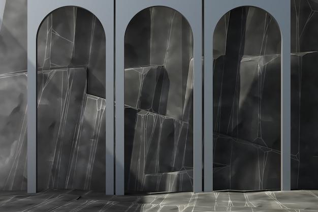 Arco cinza com fundo de pedra e renderização em 3d piso