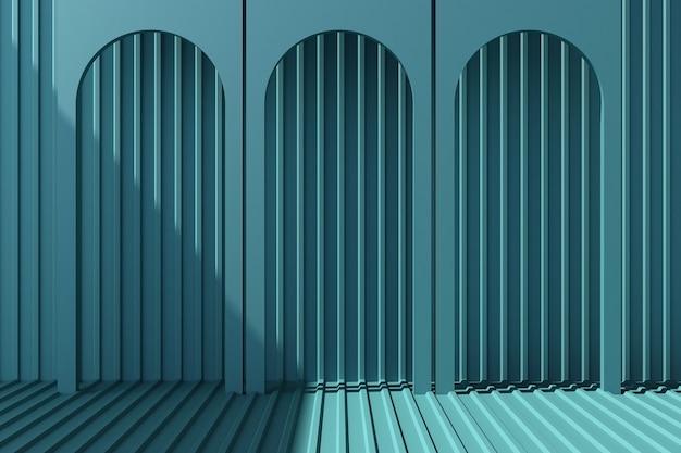 Arco com folha de metal azul 3d render