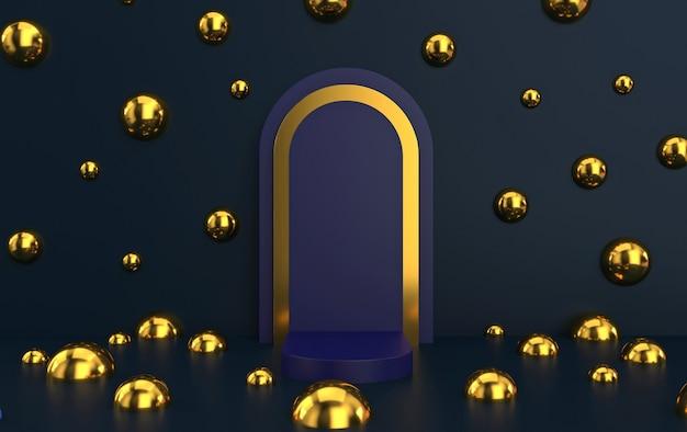 Arco com pódio em tons de azul profundo, portal mínimo com moldura dourada, renderização em 3d, cena com formas geométricas, fundo abstrato com bolas douradas